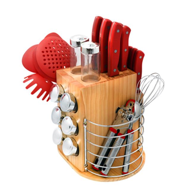 Ragalta USA PLCKS-200R Carousel Knife & Kitchen Tool Set, Red
