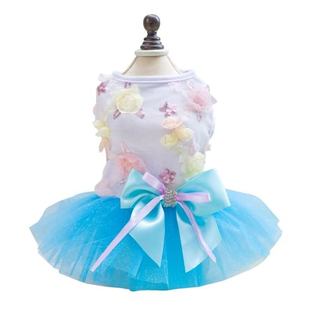 Pet Small Dog Dress Puppy Lace Princess Tutu Skirt Summer Costume Blue M](Dogs Dressed In Halloween Costumes)