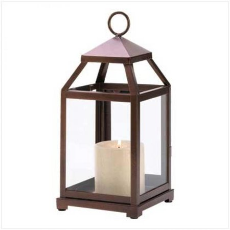 Gifts & Decor Burnished Copper Contemporary Hanging Lantern Candle Holder Stand - Copper Lanterns