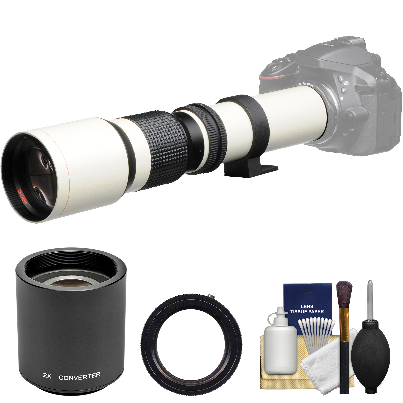 Vivitar 500mm f/8.0 Telephoto Lens (T Mount) (White) with 2x Teleconverter (=1000mm) + Kit for Canon EOS 6D, 70D, 7D, 5DS, 5D Mark II III, Rebel T5, T5i, T6i, T6s, SL1 Camera