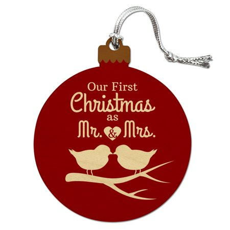 Our First Christmas as Mr and Mrs Married Kissing Birds Red Background Wood Christmas Tree Holiday (Our First Christmas As Mr And Mrs Svg)