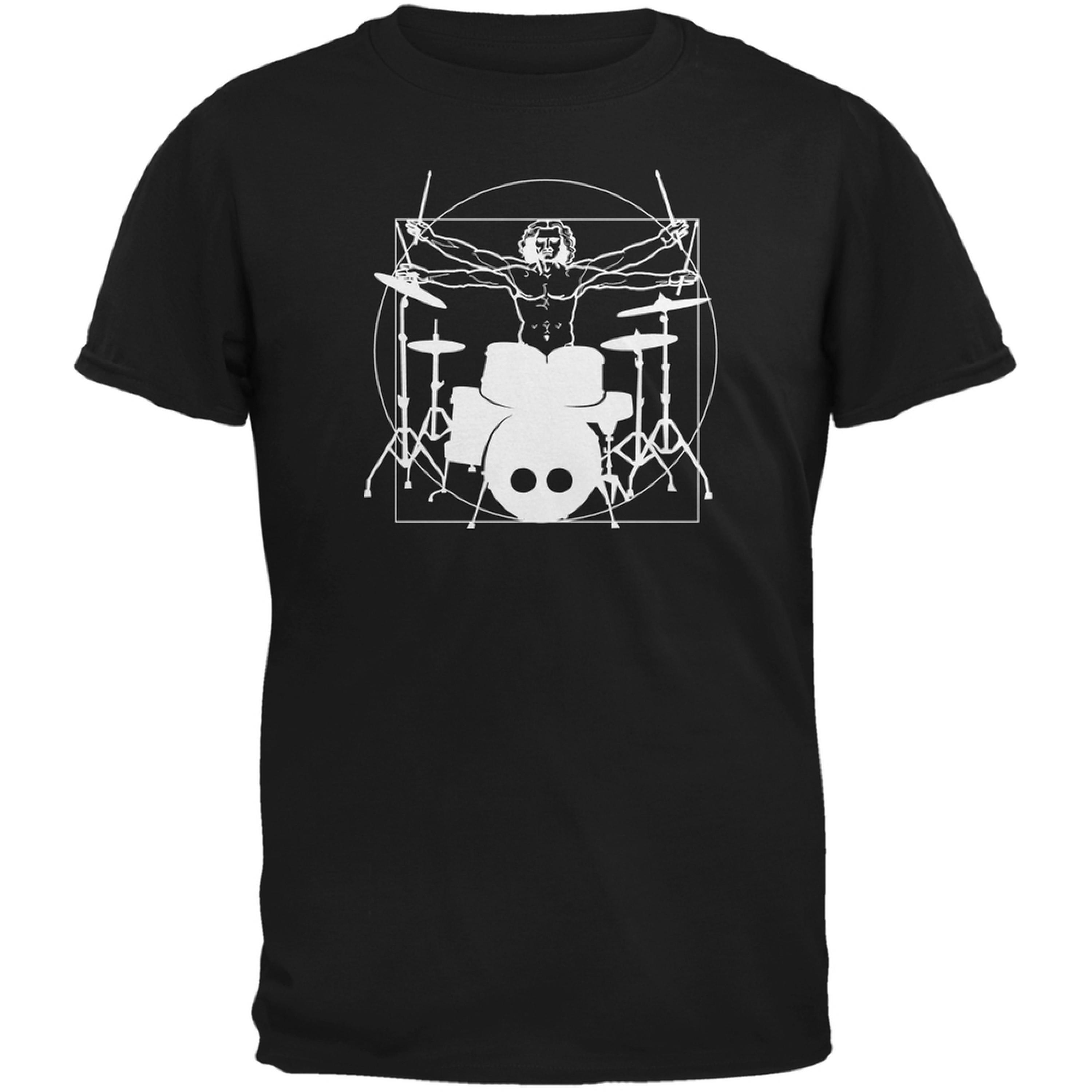 Vitruvian Man Drummer Black Adult T-Shirt