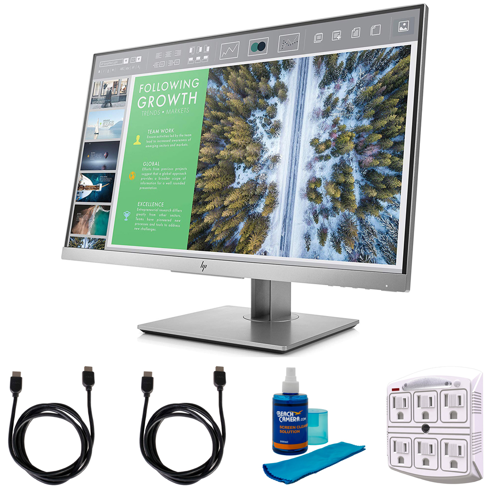 Hewlett Packard EliteDisplay 23.8-Inch Screen LED-Lit Monitor Silver (1FH47A8#ABA) with 2x 6ft High Speed HDMI Cable, Universal Screen Cleaner & Stanley SurgePro 6 NT 750 Joule 6-Outlet Surge Adapter