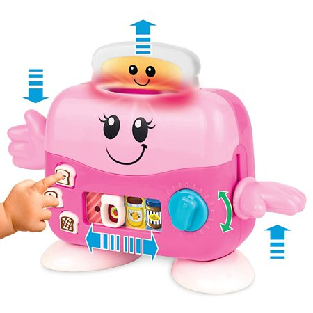 Play Kitchen Toaster (Musical Pop Up Mrs. Toaster Light Sound Kitchen Toy Kids. Toy Kitchen Accessories Pretend Play Fun. Pink Toy Toaster Infants 3M+. Bread Slice Jam, Peanut Butter)