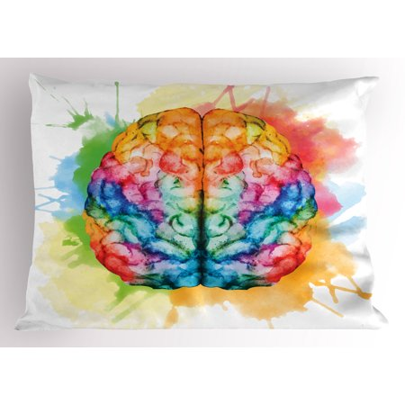 Watercolor Pillow Sham Vibrant Colorful Human Brain Body Neurology Hemispheres Creative Intelligence  Decorative Standard Queen Size Printed Pillowcase  30 X 20 Inches  Multicolor  By Ambesonne