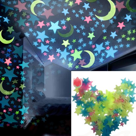 Girl12Queen 100 Pcs Star Moon Fluorescent Glow Wall Stickers Baby Rooms Home Decoration (Glow Decorations)