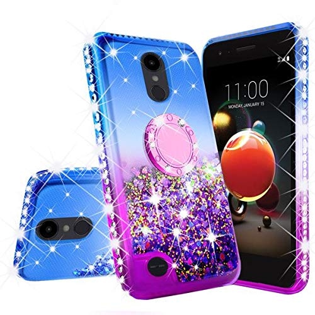 finest selection 0cb61 cf952 Liquid Glitter Cute Phone Case Kickstand LG Rebel 4 LTE, LG Risio 3 Case  Bling Diamond Bumper Ring Stand Girls Women (Purple)