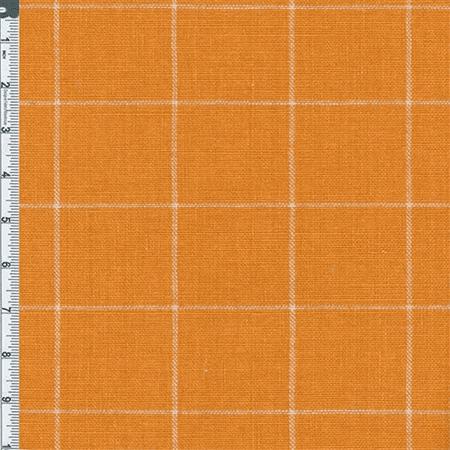 Yellow Orange Windowpane Plaid Home Decor Linen Fabric
