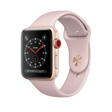 Apple Watch Series 3 42mm Smartwatch (GPS + Cellular, Rose Gold Aluminum Case, Pink Sand Sport Band) -