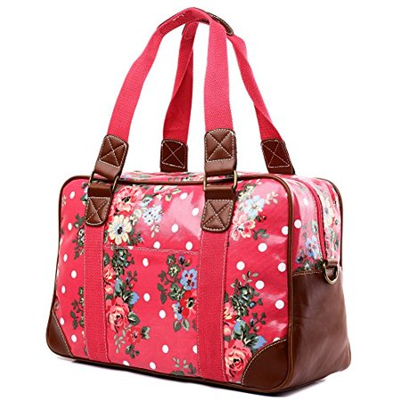 Miss Lulu Ladies Print Oilcloth Hand Shoulder Travel Overnight Weekend (Best Leather Weekend Bag)