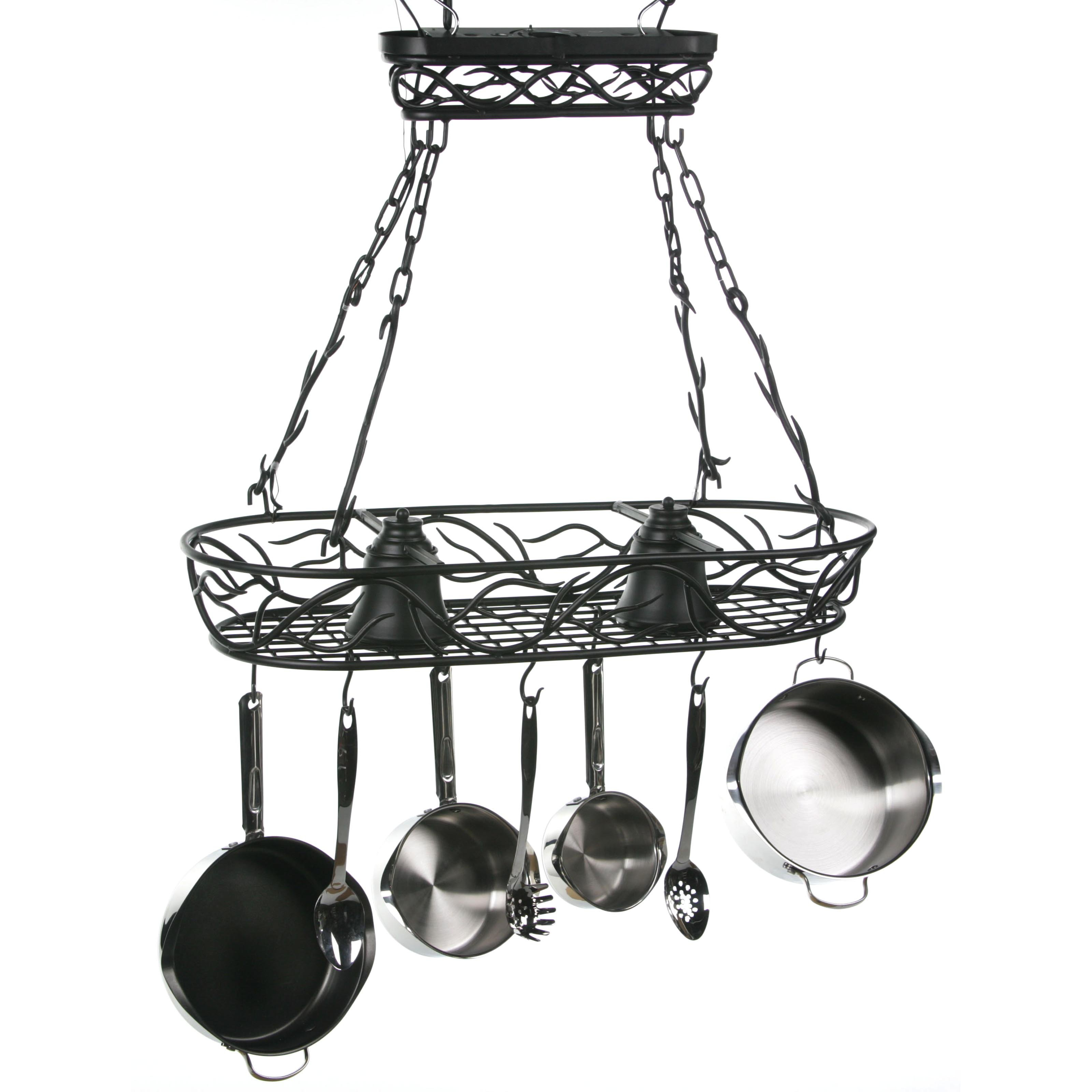 Twig Pot Rack with Lights
