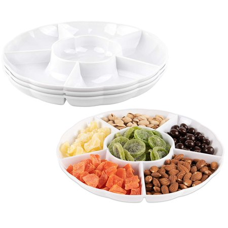 Impressive Creations White Round Plastic Serving Tray – (Pack of 3) – Heavyweight Disposable 6 Compartment Reusable Party Supply Tray– Durable and Reusable Party Supply Tray – Perfect Dinnerware](Plastic Party Trays With Lids)