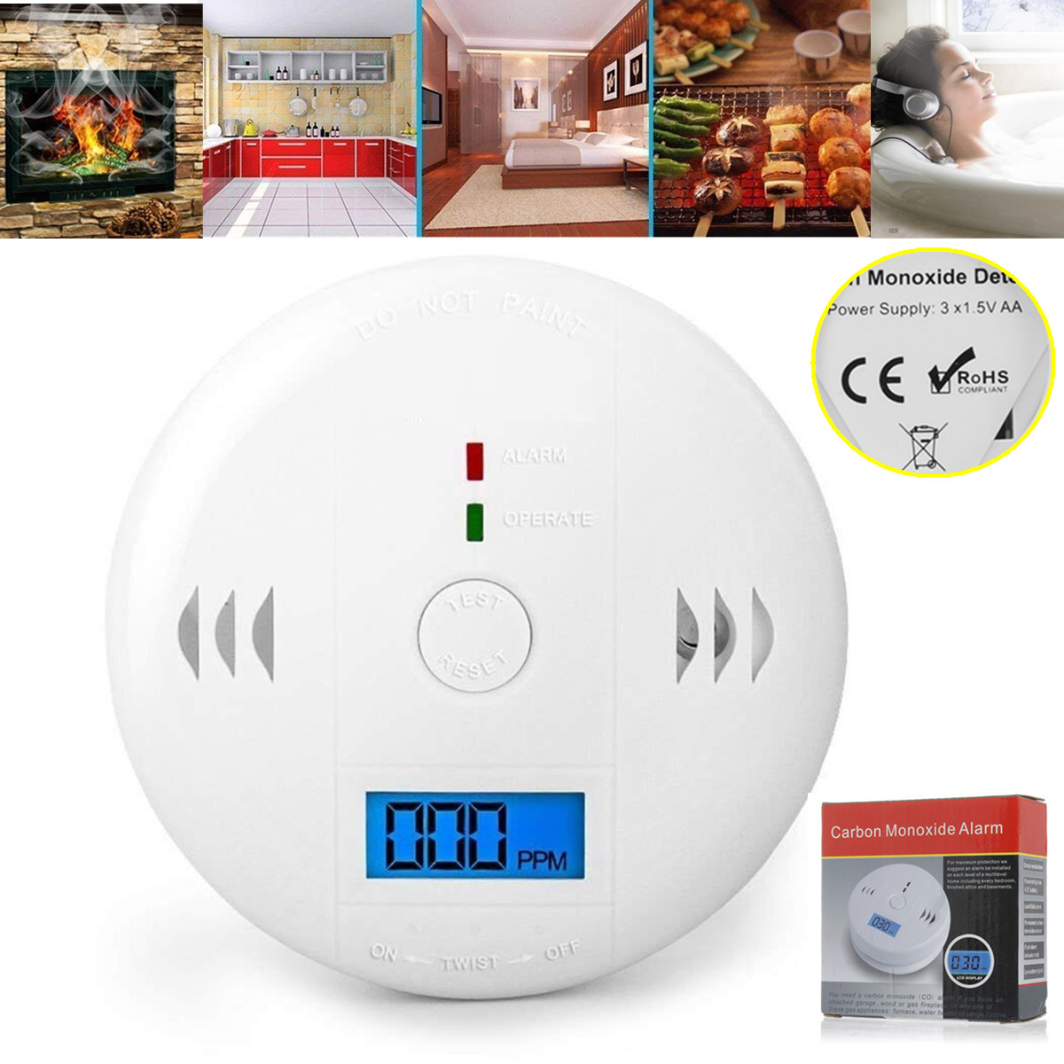 LCD CO Carbon Monoxide Smoke Detector Poisoning Gas Warning Sensor Loud  Alarm, Gas Alarm, Gas Sensor Display for CO Monitor Equipment Alarm Clock
