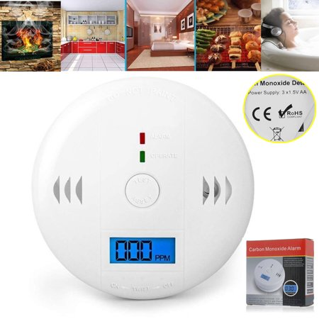 LCD CO Carbon Monoxide Smoke Detector Poisoning Gas Warning Sensor Loud Alarm, Gas Alarm, Gas Sensor Display for CO Monitor Equipment Alarm Clock Warning CE RoHS Battery Opearted