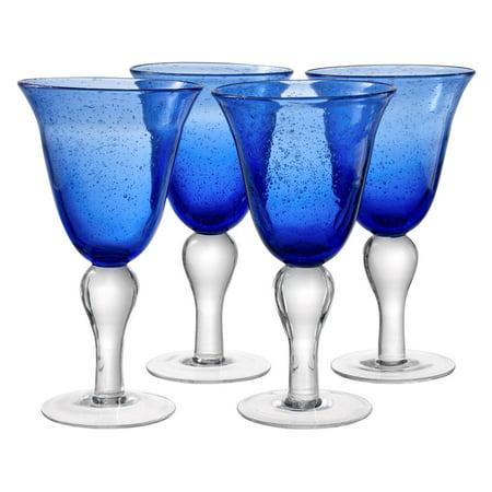 Artland Inc. Iris Cobalt Goblet Glasses - Set of 4 Cobalt Blue Glass Pump