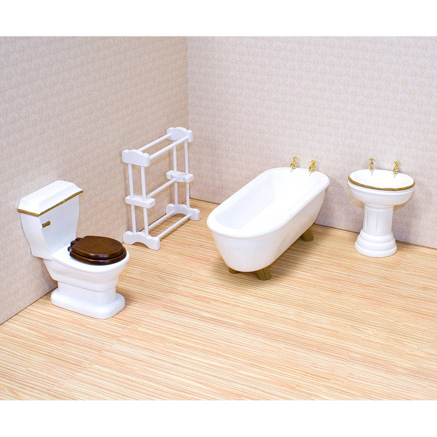 Melissa & Doug Classic Wooden Dollhouse Bathroom Furniture, 4pc, Tub, Sink, Toilet, Towel Rack