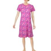 Chemin de Moda Women's Short Sleeve Knee-Length Clover Print Nightgown