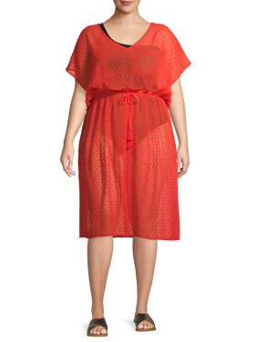 Time and Tru Women's Plus Size Chiffon Midi Swimsuit Cover Up