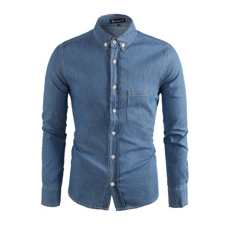 Men's Long Sleeves Single Breasted Denim Button Down Shirt