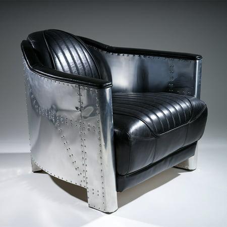Behar Black Leather And Metal Club Chair Walmart Com