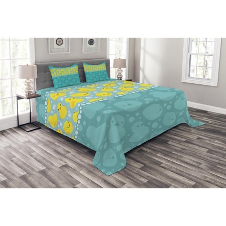 Rubber Duck Bedspread Set, Yellow Cartoon Duckies Swimming in Water Pattern with Fun Bubbles Aqua Colors, Decorative Quilted Coverlet Set with Pillow Shams Included, Teal Blue, by Ambesonne