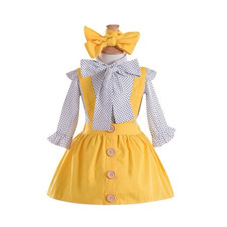 3PCS Toddler Kids Baby Girl Polka Dot Tops Suspender Skirt Dress Headband Outfit Clothes Set