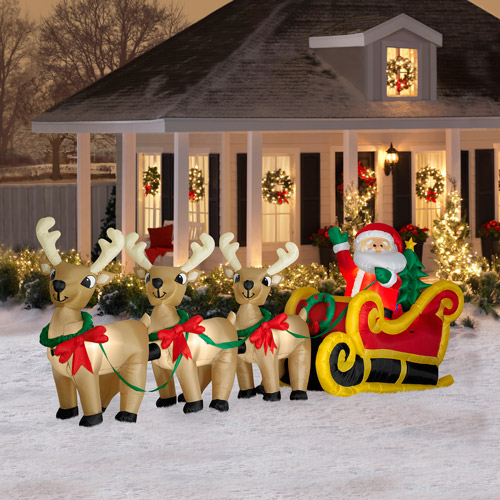 16' Long Airblown Christmas Inflatable Santa In Sleigh With Three Reindeers