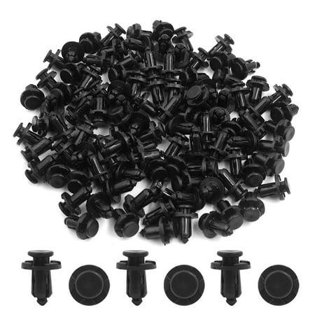 100Pcs Plastic Rivets Push Pin Type Retainer Fastener Bumper Clips Black 10mm - image 1 of 2
