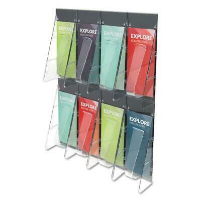 Leaflet Stand - Stand-Tall 8-Bin Wall-Mount Literature Rack, Leaflet, 18.25 x 23.5, Clear/Black