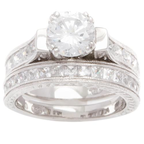 Plutus Partners Plutus 1 carat Round Sterling Silver Cubic Zirconia Bridal-style Ring Set