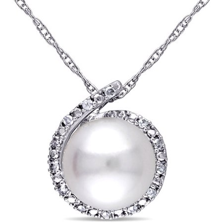 Round Freshwater Pearl Pendant (8-8.5mm White Round Cultured Freshwater Pearl and Diamond-Accent 10kt White Gold Fashion Pendant,)