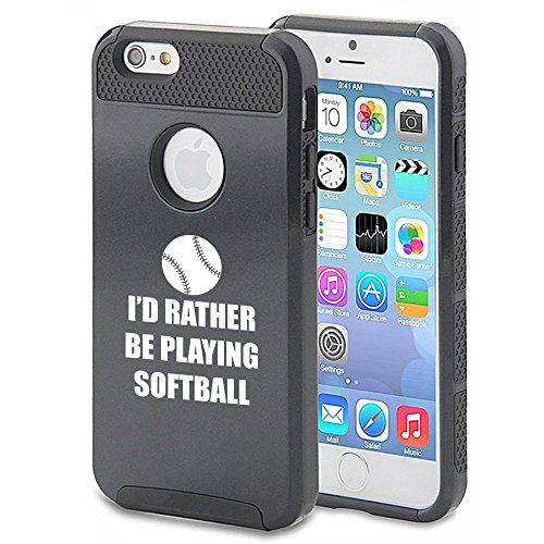 Apple iPhone 5c Shockproof Impact Hard Case Cover I'd Rather Be Playing Softball (Black),MIP