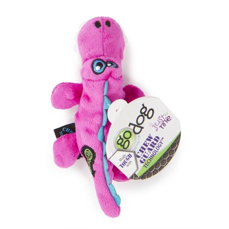 goDog® Gators™ Just for Me™ with Chew Guard Technology™ Durable Plush Squeaker Dog Toy, Pink,