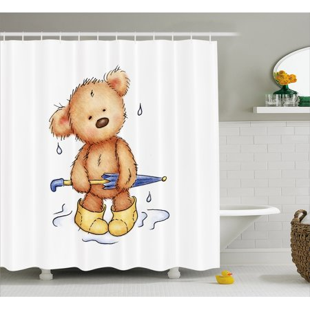Bear Shower Curtain Teddy Caught Up In Rain With Rubber Boots Holding An Umbrella Cartoon Fabric Bathroom Set Hooks Sand Brown Yellow Blue