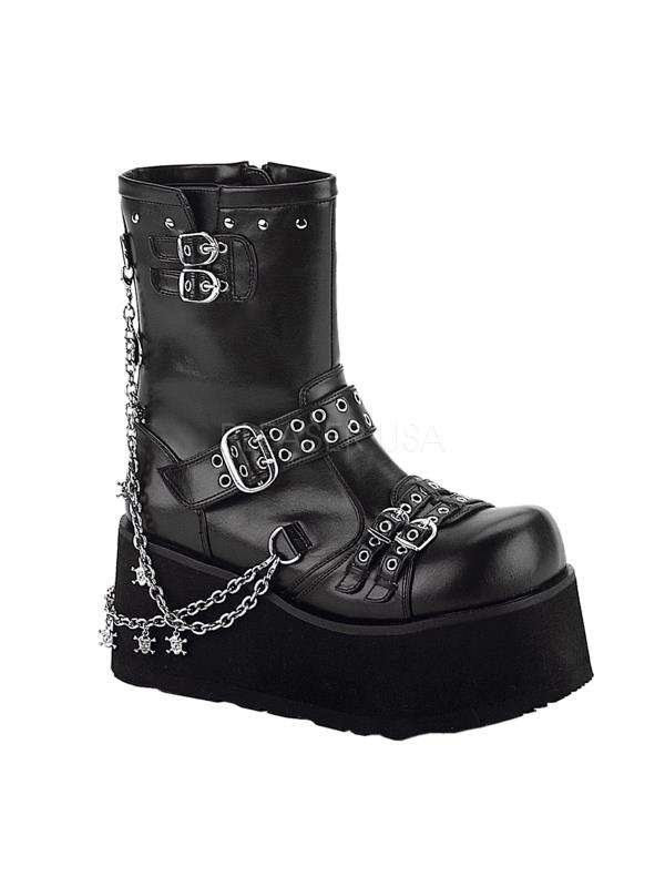 CLA430 B PU Demonia Vegan Boots Womens BLACK Size: 7 by