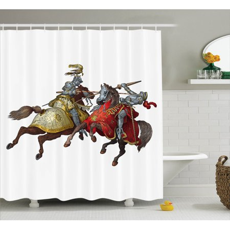 Medieval Decor Shower Curtain Set Middle Age Fighters Knights With Ancient Costume Renaissance Period Illustration