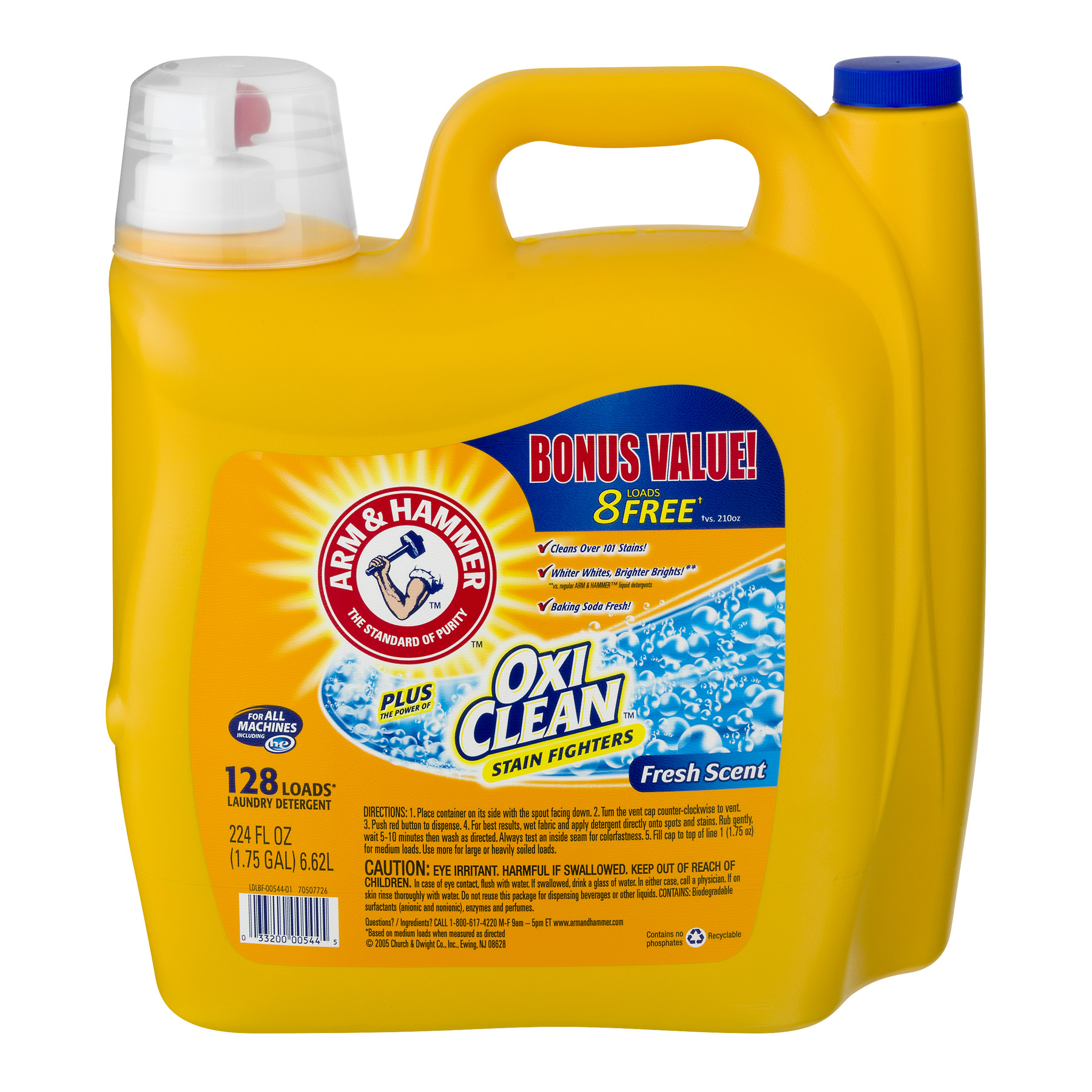 Arm & Hammer Plus OxiClean Stain Fighters Fresh Scent Laundry Detergent, 224 fl oz