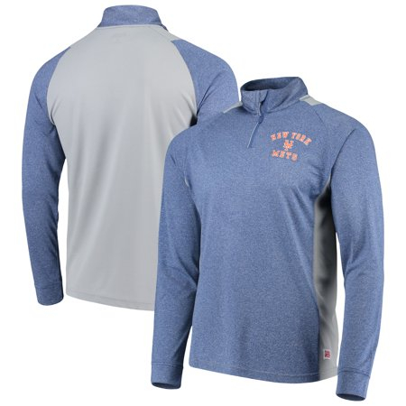 df83d39c New York Mets Stitches Raglan Sleeve Quarter-Zip Pullover Jacket -  Heathered Royal/Gray - Walmart.com