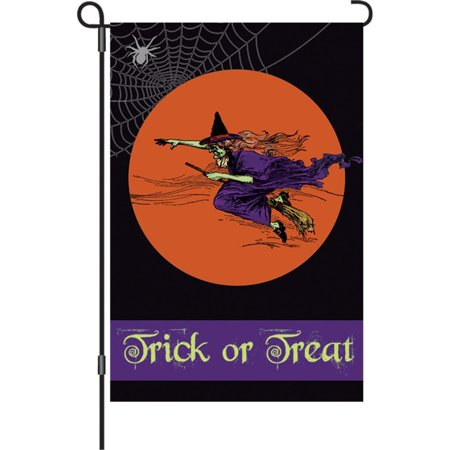 & Designs 12 In. Halloween Garden Flag - Flying Witch, Velvety soft and thicker than the regular polyester fabric, but still lightweight.., By Premier Kites