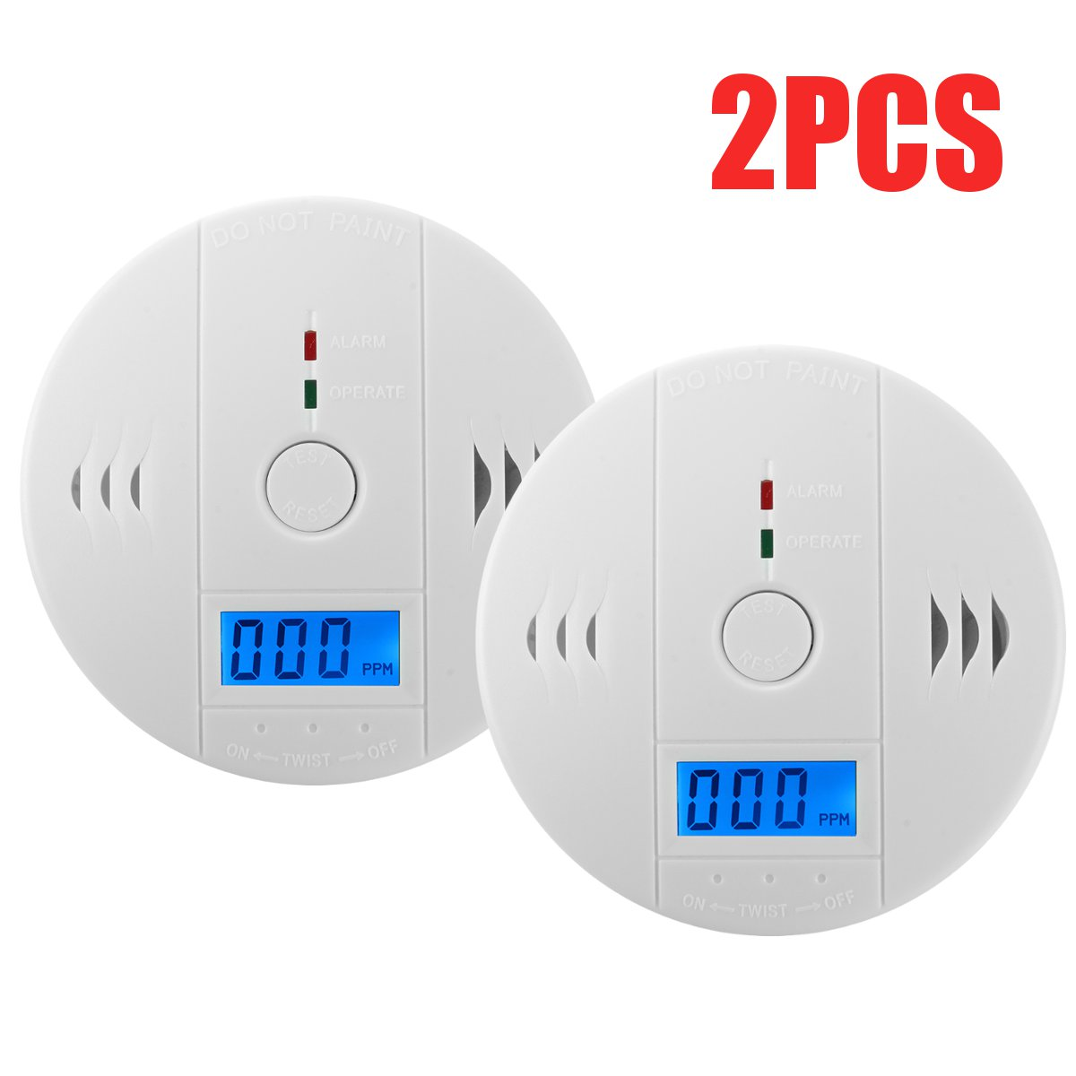 2PCS Battery Operated CO Carbon Monoxide Detector Fire Sensor LED Indicator with Sound Alarm Digital Display Security High Sensitivity