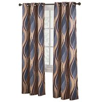 Collections Etc Intersect Wave Grommet Top Curtain Panel, 48 X 63, Paprika
