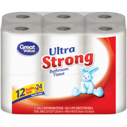Great Value Double Rolls Ultra Strong 2 Ply Bathroom