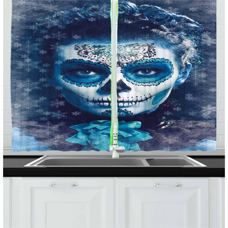Sugar Skull Curtains 2 Panels Set, Santa Muerte Concept Winter Season Ice Cold Snowflakes Frozen Dead Folkloric, Window Drapes for Living Room Bedroom, 55W X 39L Inches, Multicolor, by Ambesonne