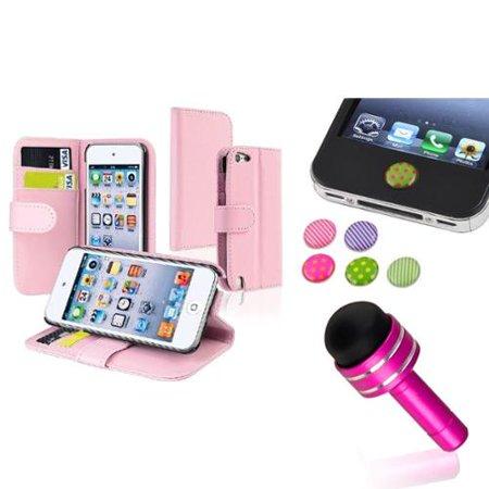 Insten Pink Flip Wallet Credit Card Leather Case+Dust Cap Pen+Sticker For iPod Touch 6 6th 5 5th Gen