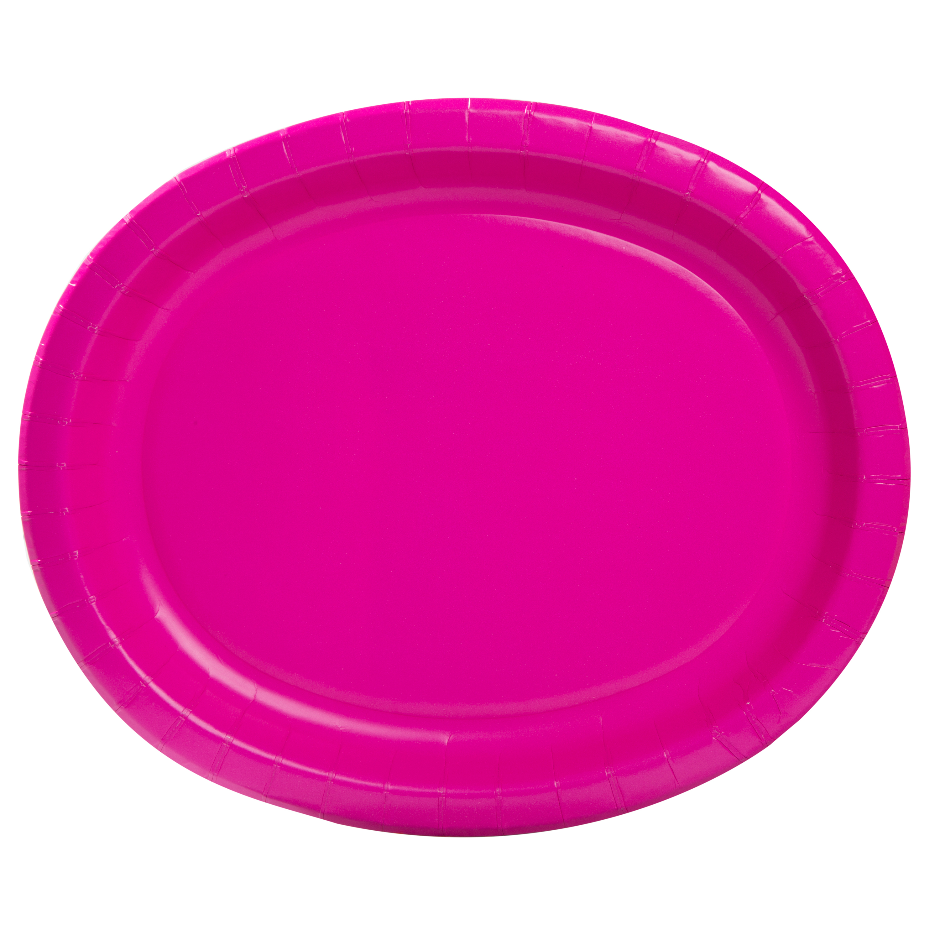 "12"" Neon Pink Oval Paper Platters, 10ct"