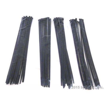 100-Pack Heavy Duty 14 Inches (50lbs) Zip Cable Tie Down Strap Wire UV Black Nylon Wrap