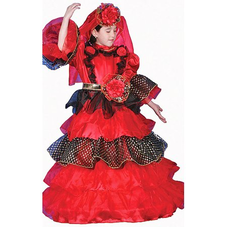 Spanish Dancer Fancy Dress (Child size Red Spanish Dancer Deluxe Dress up Costume - 2)