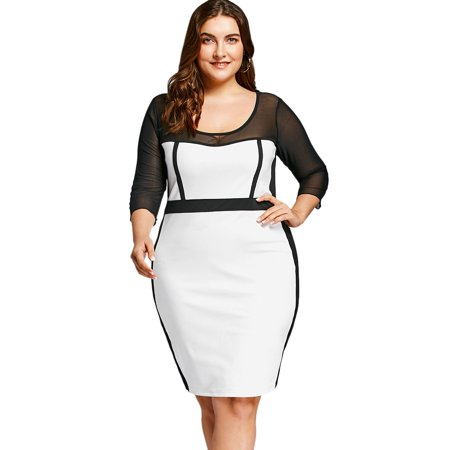 NEXTMIA - Formal Midi Bodycon Dress Mesh Insert Plus Size Ol Bodycon Dress  For Women - Walmart.com ee2739c1e