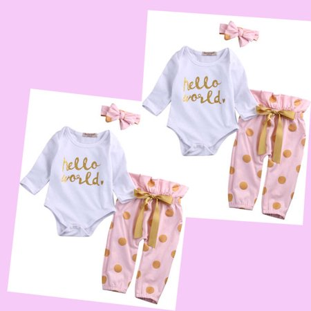 12ea36486607 Hirigin - Infant Newborn Baby Girls Hello World Romper Tops+Pants Clothes  Outfit Sets - Walmart.com