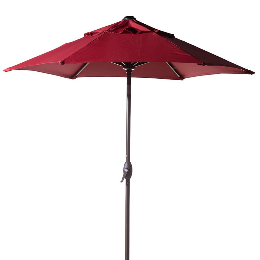 Abba Patio 7-1 2-FT Round Outdoor Market Patio Umbrella with Push Button Tilt and Crank Lift, Red by Abba Patio